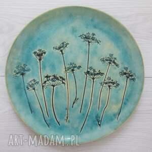 ceramika dekoracyjny talerz z roślinami, dekoracyjna