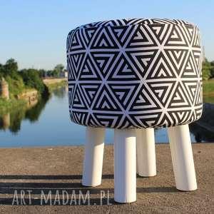 pufa labirynt - białe nogi 36 cm, puf, taboret, hocker, vintage, siedzisko, stołek