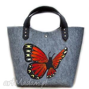filcowa torba motyl 4 - prezent, motyl, torebka, filc
