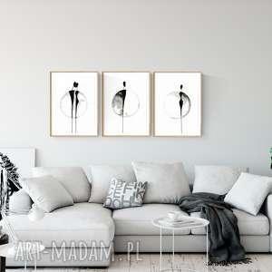 zestaw 3 grafik 30X40 cm wykonanych ręcznie, plakat, abstrakcja, elegancki minimalizm