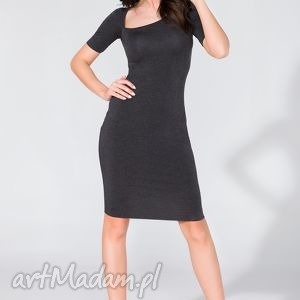 sukienka z asymetrycznym dekoltem t138 ciemnoszary - sukienka, ołówkowa