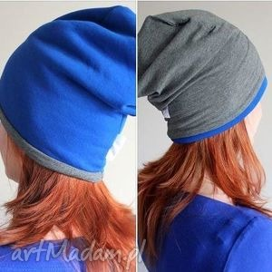 dwustronna dwukolorowa czapka beanie dresowa, czapka, dwustronna