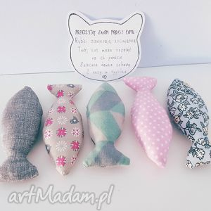 handmade zwierzaki rybki z kocimiętka zabawka kota