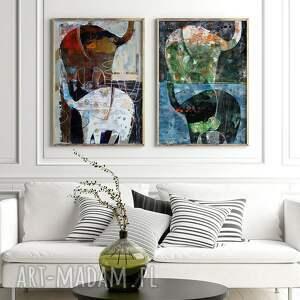 plakaty zestaw 2 plakatów - słonie, plakat, wydruk, słoń, grafika, obraz