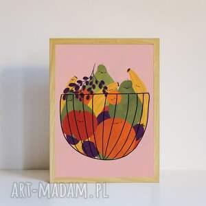 pod choinkę prezent, plakat a4 owoce, wegański, vege, owocowy, kolorowy