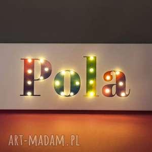 napis led twoje imię prezent tęczowy obraz lampa personalizowany