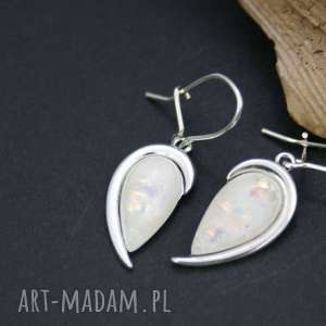 kolczyki opal w srebrze, kolczyki, srebrne, opal, wiszące, opalizujęce, ślubne