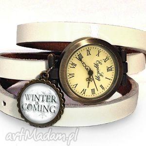 zegarki winter is coming - zegarek/bransoletka na skórzanym pasku, zegarek