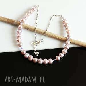 Perłowy naszyjnik naszyjniki akadi 1 perły, srebro, naszyjnik,