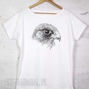 SOKÓŁ koszulka bawełniana biała z nadrukiem S/M, bluzka, nadruk,