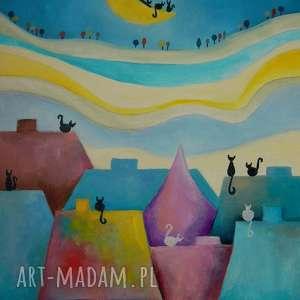 Obraz na płótnie - WESOŁE MIASTECZKO KOTÓW 30/40 cm, abstrakcja, miasteczko, bajka