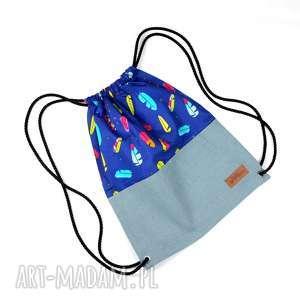 worek plecak unisex piórka kolorowy, worek, plecak, piórka, etniczny, mocny