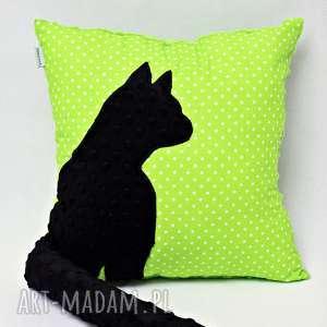 poduszka kot z ogonem, kotem 3d wystającym czarny kotek