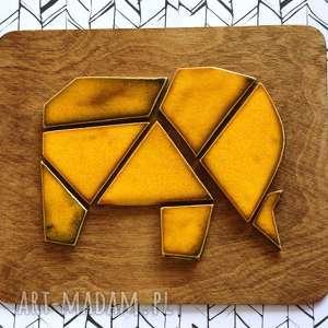 słoń geometryczny - ceramika, słoń, ceramiczny, zwierzęta, mozaika