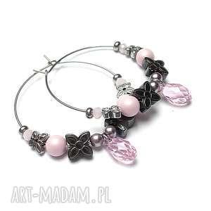 alloys collection /różane /- kolczyki, stal, szlachetna, koła, hematyty, perły