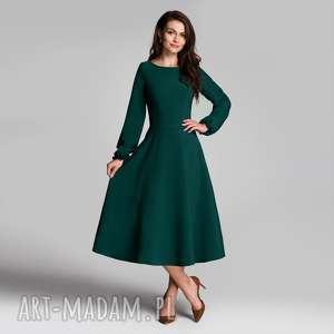 sukienki sukienka aniela total midi zieleń, midi, butelkowa