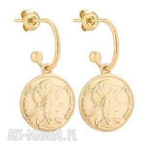 złote kolczyki z monetami - półkola, pozłacane eleganckie