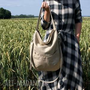 Workówka vegan len na ramię manufakturamms len, torebka, torba