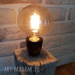 Lampa loft - drewno z recyklingu pracownia szkla decor, lampa