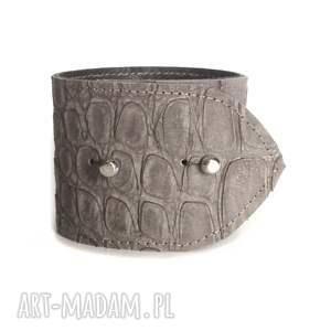 hand-made bransoletka skórzana greige knop