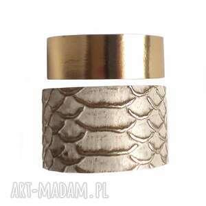 hand made komplet bransoletek skórzanych wąż beż złoto