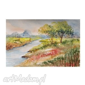 pejzaż nad rzeką 2, akwarela, pejzaż, rzeka, obraz