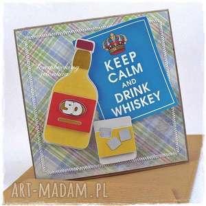 kartka urodzinowa - urodziny, whisky, butelka, 50, mężczyzna, kratka