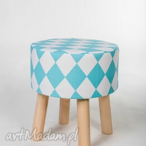 Stołek Fjerne S turkusowe romby, puf, stołek, dom, dekoracja, meble, drewno