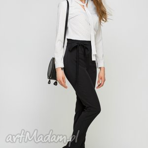 spodnie z szarfą, sd113 czarny, wstążka, czarne, wysokie, pasek, praca