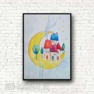miasteczko na księżycu-akwarela formatu 18/24 cm, akwarela, miasteczko, księżyc