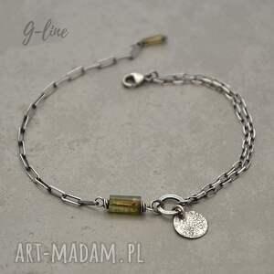 grey line project prosta srebrna bransoletka z turmalinem 081, turmalin, srebro