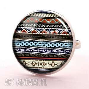 hand-made kolczyki azteckie paski - pierścionek regulowany