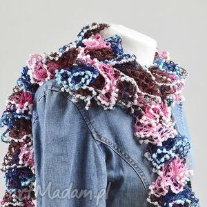 fantazyjny szal - róż z niebieskim - szalik, delikatny, ciekawy, modny, stylowy