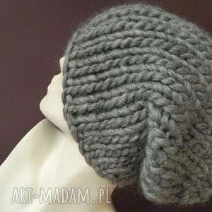 100 wełna syberianka designerska czapa szary melanż wool, grubaśna