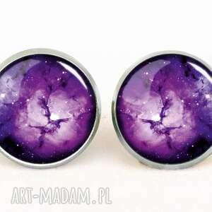egginegg fioletowa nebula - kolczyki wkręty - kosmiczne, sztyfty