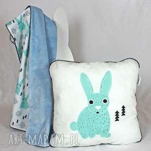 nuvaart poduszka królik mięta 46x46, poduszka, dekoracyjna, pościel, dziecko, minky