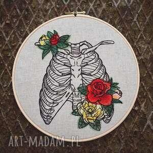 obrazek haftowany żeberka i kwiaty - dekoracjaścienna, vintage