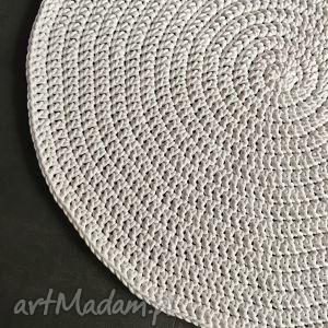 dywan ze sznurka bawełnianego biały 130 cm, dywan, chodnik, sznurek, szydełko