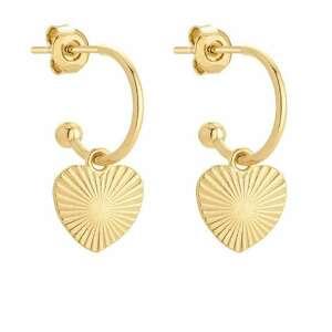złote kolczyki z sercami - miłość, półkola