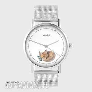 ręcznie wykonane zegarki zegarek, bransoletka - lisek - metalowy