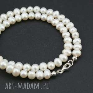 naszyjnik perły naturalne, naszyjnik, perły, sznur, srebro, słodkowodne
