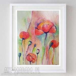 łąka maków - akwarela formatu 21/28 cm, maki, akwarela, kwiaty, abstrakcja