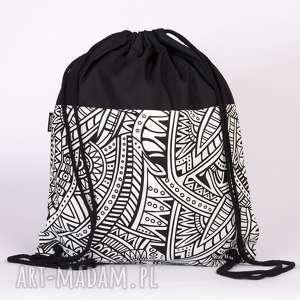 czarno-biały geometryczny, worek, plecak, czarny, wzory