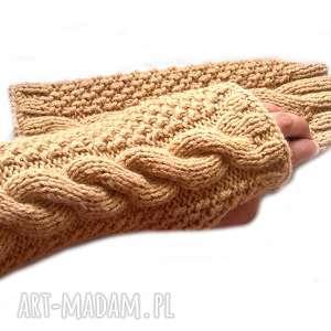 Prezent Wełniane Mitenki - Beżowe rękawiczki bez palców z włóczki akrylowej