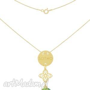 złoty naszyjnik karma z orientalną rozetą jasnozielony, orientalny