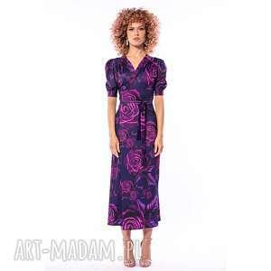 sukienki kelly - kopertowa sukienka, midi, elegancka, kopertowa