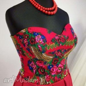 sukienki sukienka stylizowana czerwona, wesele, stylizowane, goralskie, tybetowe