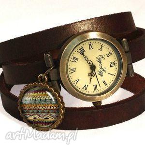 azteckie wzorki - zegarek bransoletka na skórzanym pasku, paski