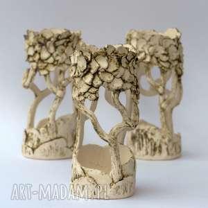 zestaw 3 świeczników ceramicznych ręcznie lepionych, jasnych, matowych
