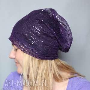 czapka imprezowa fioletowa damska, impreza, święta, sylwester, lato, cekiny